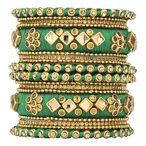 - Aheli Ethnic Handmade Silk Thread Stone Studded Matching Bangle Set Chuda Indian Wedding Party Wear Fashion Jewelry for Women (Green)