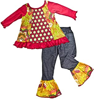 product image for Cheeky Banana Little Girls Tunic Swing Top & Denim Ruffle Leggings - Multi