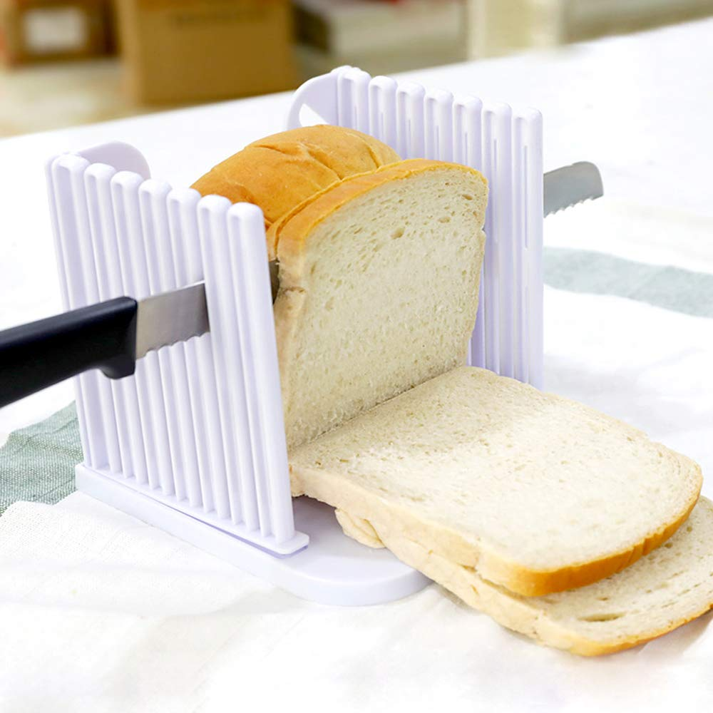 FayTun Bread Slicer Toast Cutting Guide Bagel Loaf Slicer Cutter Mold Sandwich Maker Toast Slicing Machine Foldable Adjustable & Customizable with 4 Slice Thicknesses (White)