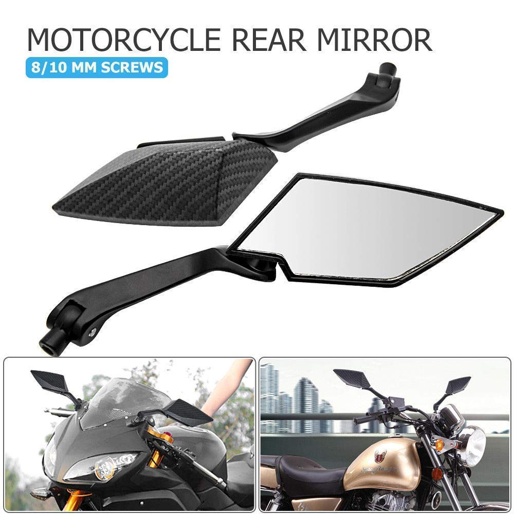 MASO Motorcycle Rear View Side Mirror 8mm//10mm Universal Aluminum Carbon Style Diamond Blade Design Side Mirror