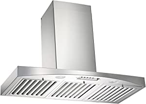 "KOBE RA3830SQB-WM-5 Deluxe 30"" Wall Mount Range Hood, 3-Speed, 680 CFM, LED Lights, Baffle Filters"