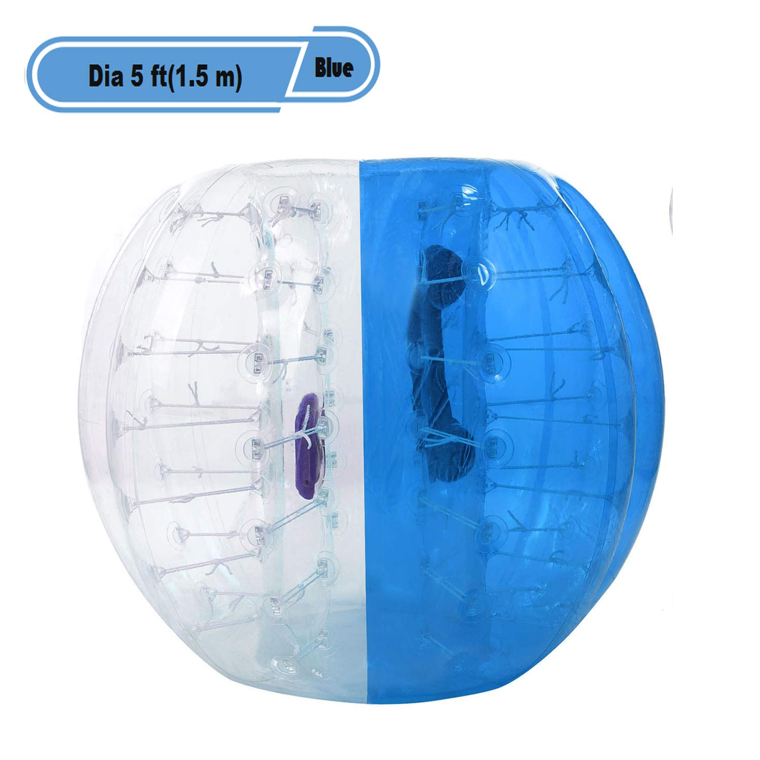 Yiilove Inflatable Bumper Ball 4 ft/5 ft(1.2/1.5 m) Bubble Soccer Ball Transparent Material Human Knocker Ballfor Adults and Kids (Dia 5 ft(1.5 m)-Blue)