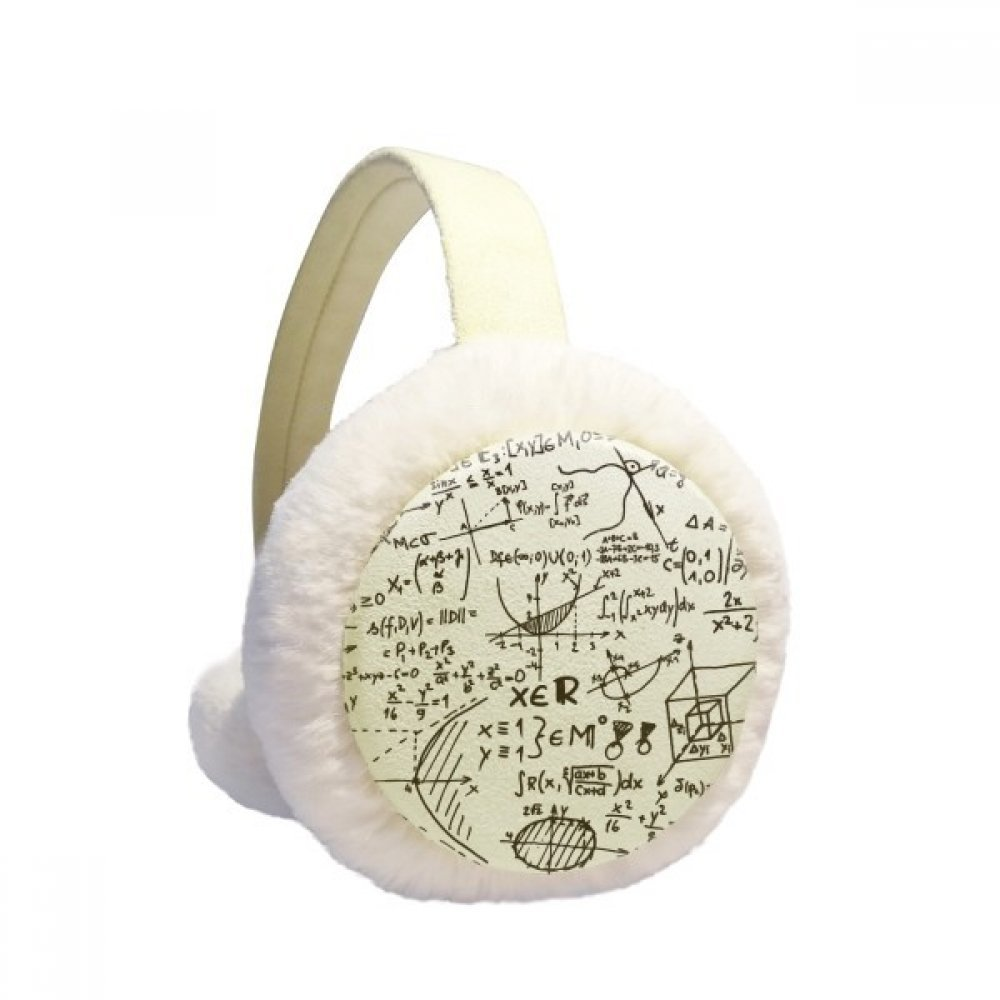 Geometry Mathematical Formulas Calculus Figure Winter Earmuffs Ear Warmers Faux Fur Foldable Plush Outdoor Gift