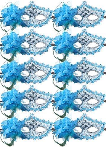 10pcs Set Mardi Gras Half Masquerades Venetian Masks Costumes Party Accessory (Blue)