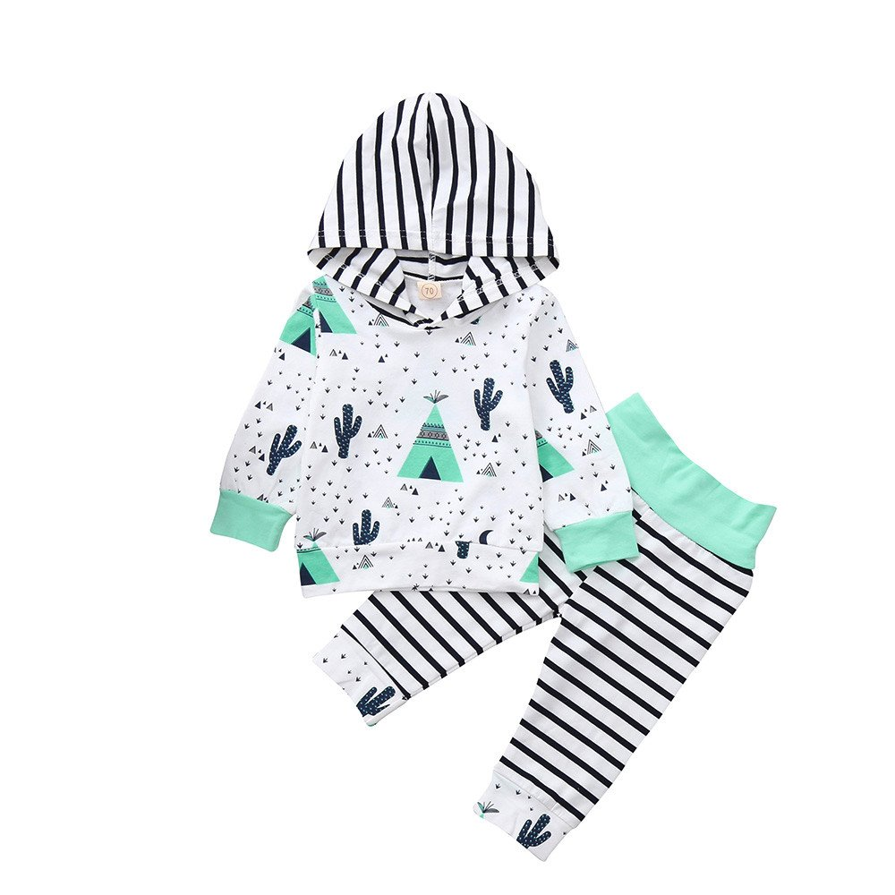 FIged Baby Winter Clothes, Print Floral Hoodie Simple Striped Outfit Unisex Set
