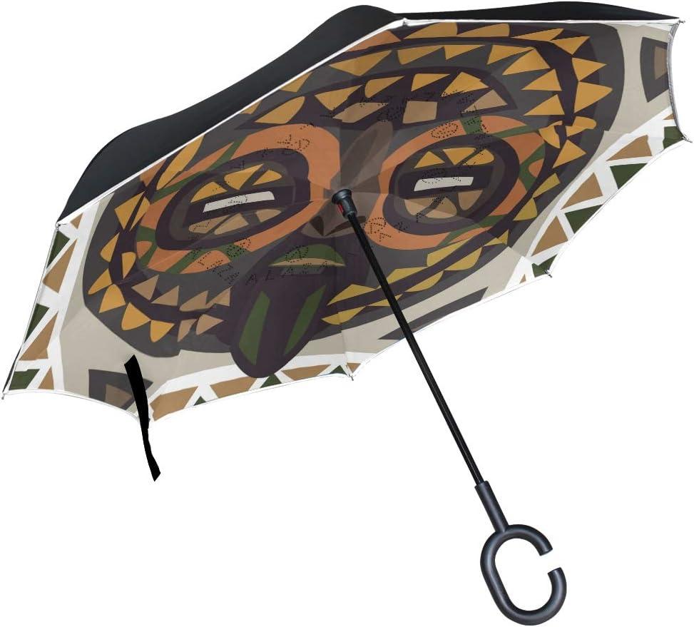 Mnsruu Paraguas de Doble Capa invertido, máscara Africana, Paraguas Plegable, Resistente al Viento, protección UV, para Uso en Coche, Lluvia, al Aire Libre, con Mango en Forma de C