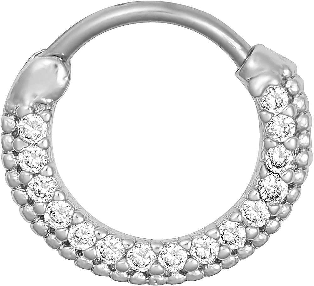 16g Septum Ring Clicker 16 Gauge 7//16 Inch Surgical Steel Framed CZ Crystal Pave Hoop Clicker Ring