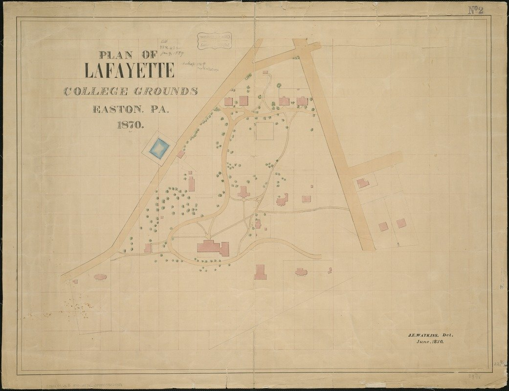 Historic Map   1870 Plan of Lafayette College grounds Easton, Pa   Antique Vintage Reproduction