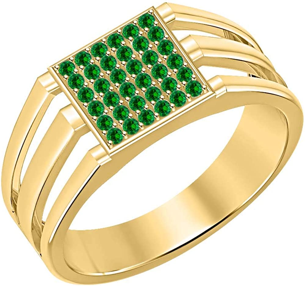 SVC-JEWELS 14k Yellow Gold Plated 925 Sterling Silver Green Emerald Cluster Engagement Wedding Band Ring for Mens