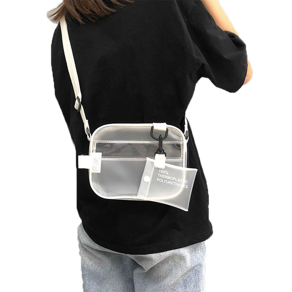 Enkrio Mini Clear Cross Body Messenger Shoulder Bag Zipper Tote Bag PVC Transparent Purse Handbag Clutch