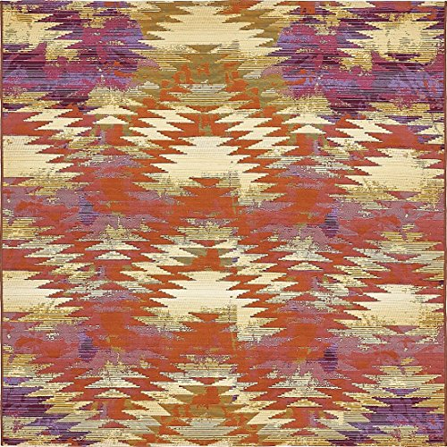 Unique Loom Outdoor Modern Collection Abstract Over-Dyed Transitional Indoor and Outdoor Flatweave Red  Square Rug (6' 0 x 6' ()