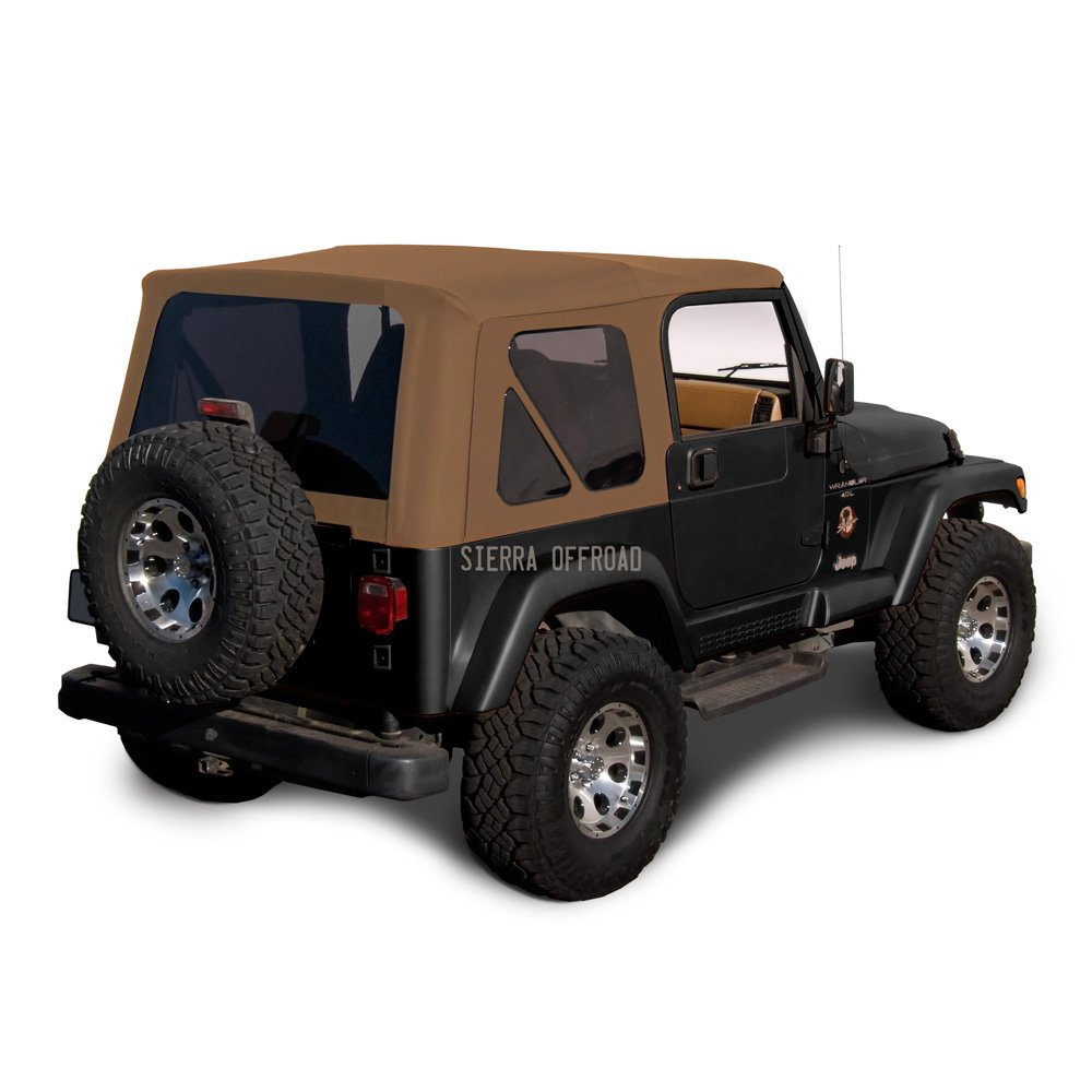 Amazon.com: Sierra Offroad Jeep Wrangler TJ (1997-2002) Factory Style Soft  Top with Tinted Windows, without Upper Doors Saddle Sailcloth: Automotive