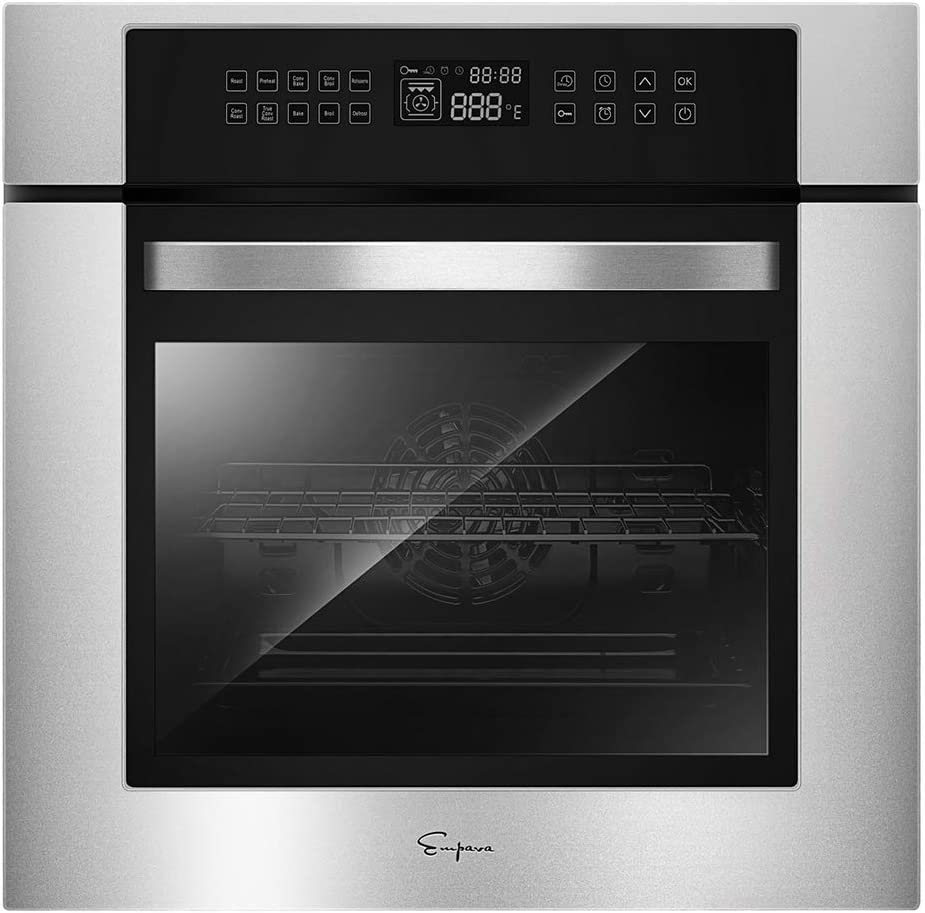 Empava 24 Inch Electric Single Wall Oven 10 Cooking Functions Deluxe 360° ROTISSERIE with Sensitive Touch Control in Stainless Steel, SC02