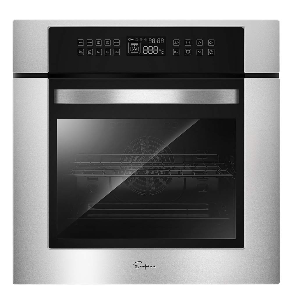 Empava 24 Inch Electric Single Wall Oven 10 Cooking Functions Deluxe 360° ROTISSERIE with Sensitive Touch Control in Stainless Steel, C02