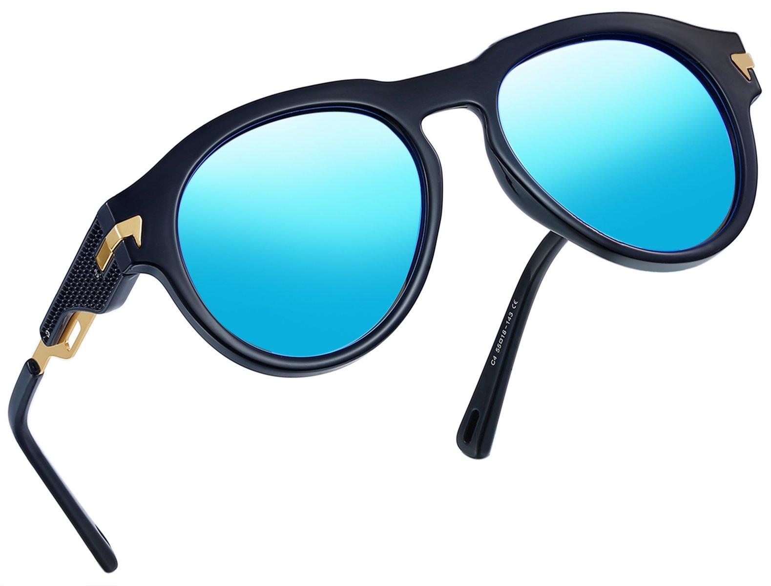 Vintage Polarized Sunglasses Women Men Brand Designer UV400 Sun Glasses (Ice Blue)
