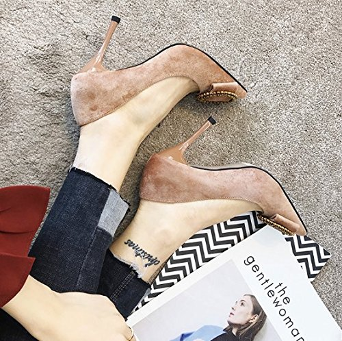 Ajunr Moda/elegante/Transpirable/Sandalias Punta de diamante 7cm talones Boca superficial Con una copa Bridesmaid zapatos Con albaricoque ,35 37