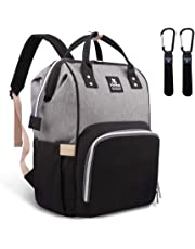 Diaper Backpack, Hafmall Multi-Function Waterproof Diaper Bag, Large Capacity Travel Back Pack Nappy Bag for Baby Care,Durable and Stylish. (Black Gray)