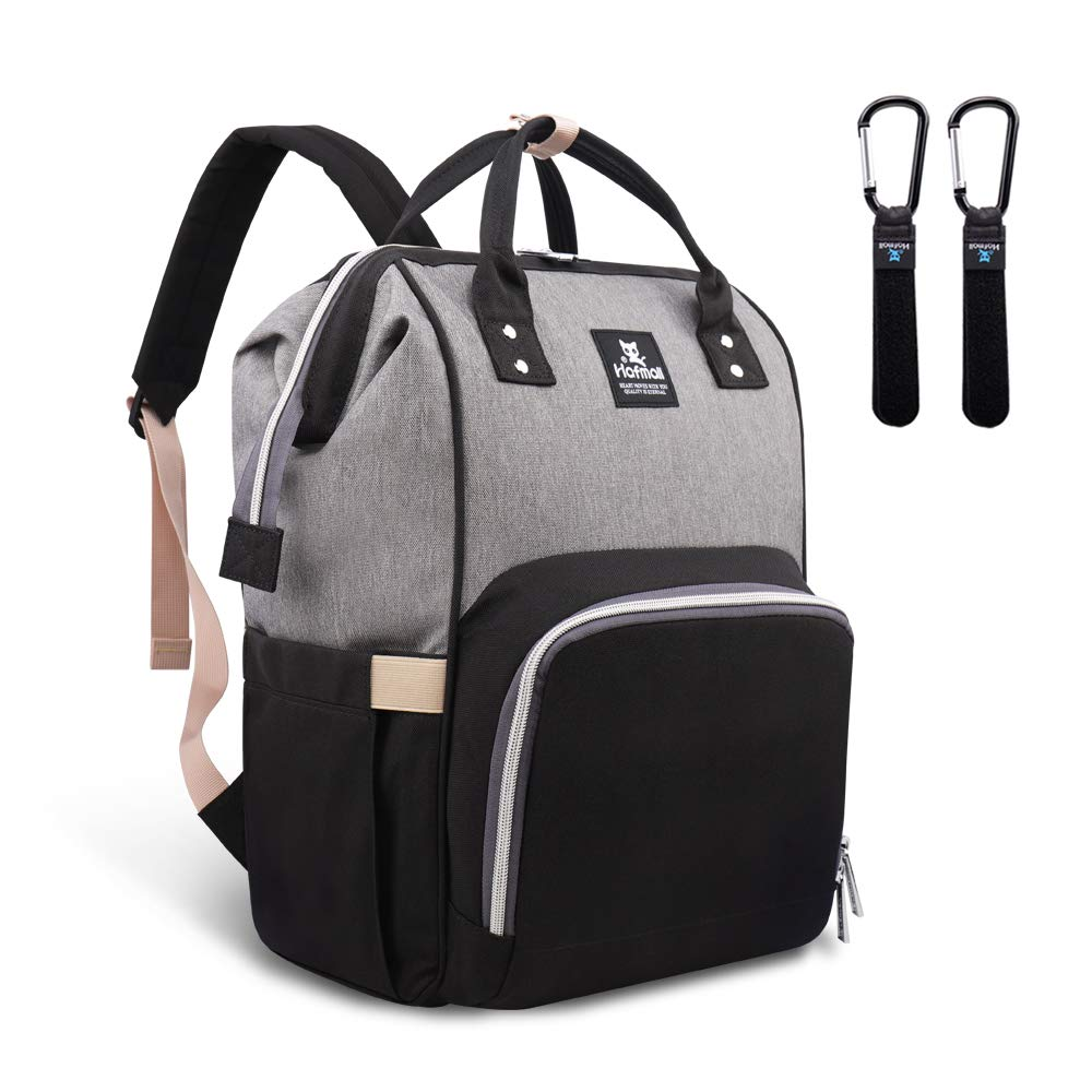 Hafmall Diaper Bag Backpack - Waterproof Multifunctional Large Travel Nappy Bag (Gray Black) by Hafmall