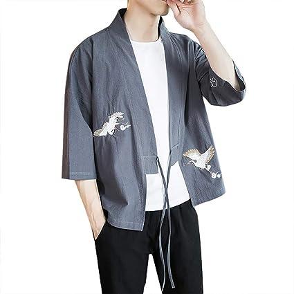 ZODOF camisa hombre Cárdigan camisa estampada lino seda Suelto Chaqueta Capa Baggy Tops Summer camisas manga larga hombre Moda para hombre(XXXXXL,gris): Amazon.es: Instrumentos musicales