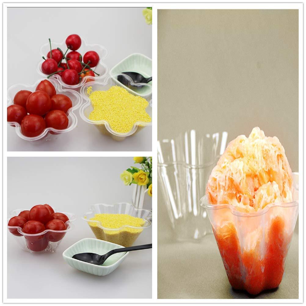 Hewnda Ice Cream Bowls Clear Plastic Dessert bowl Flower Ice Cream Bowls Dessert Cups 100
