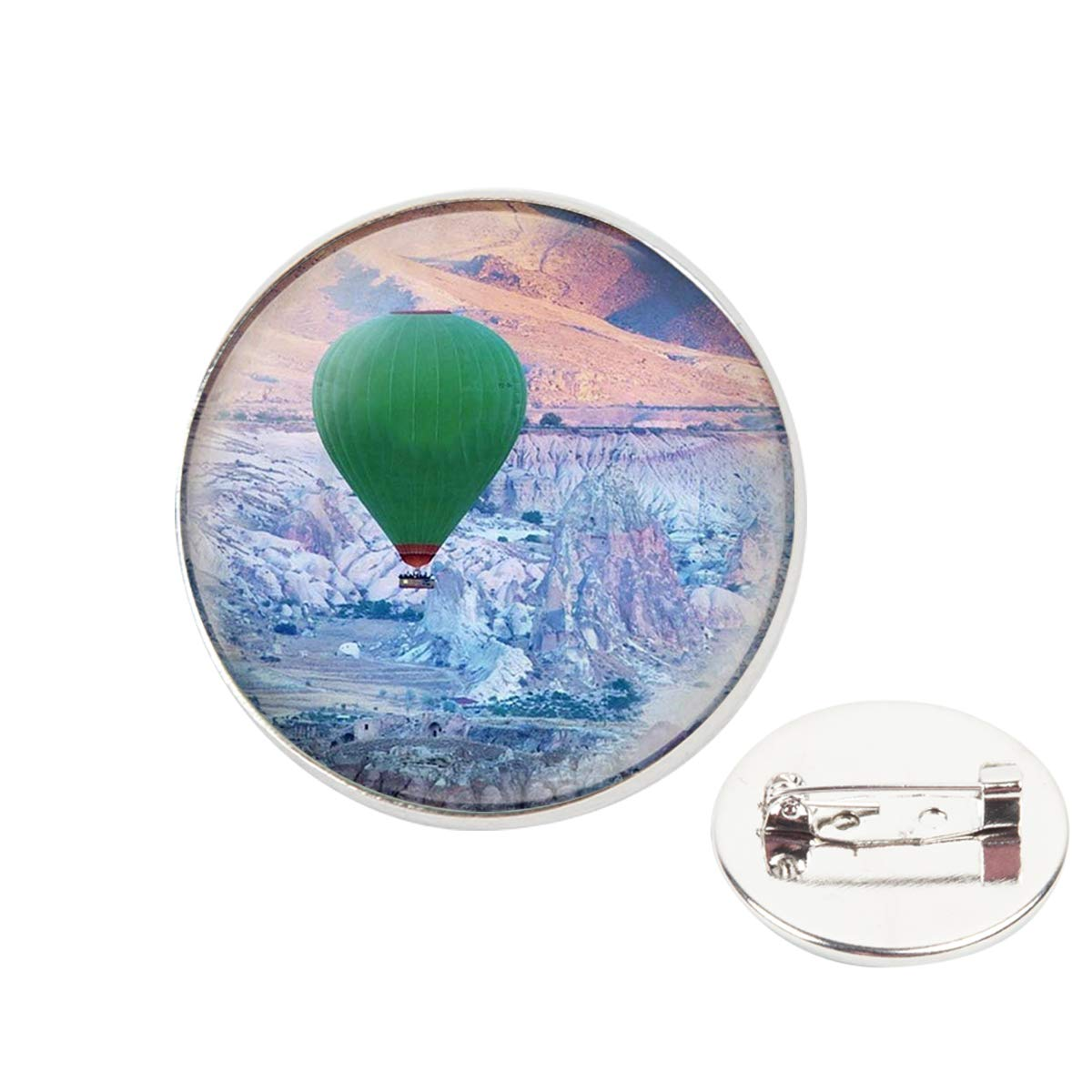Pinback Buttons Badges Pins Green Fire Balloon Above The Sea Lapel Pin Brooch Clip Trendy Accessory Jacket T-Shirt Bag Hat Shoe