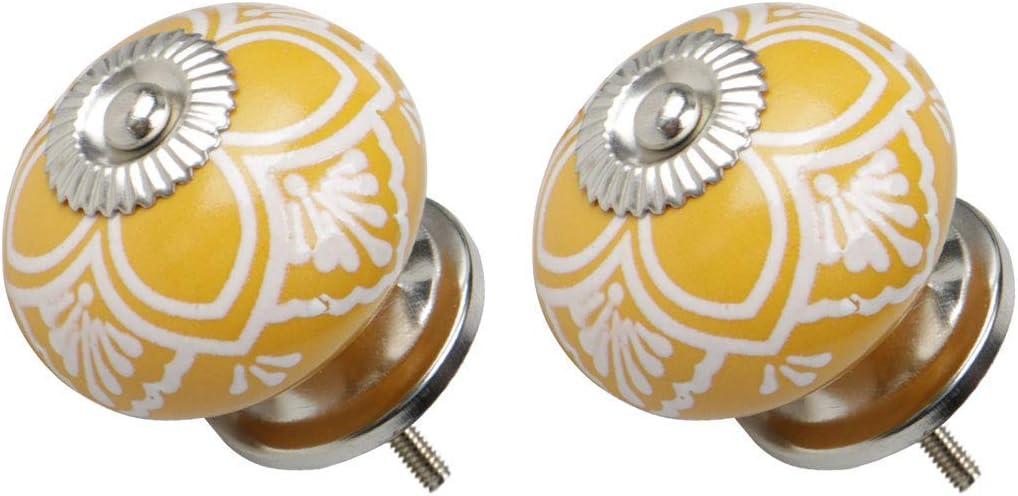tirador redondo para muebles armario 2 botones de cer/ámica vintage de estilo vintage cajonera decorativa color amarillo
