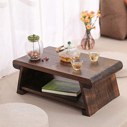 CHABUDAI Japanese Antique Tea Table Folding Legs Asian Floor Low Tea Table Wood Middle: 68x35x28cm Review