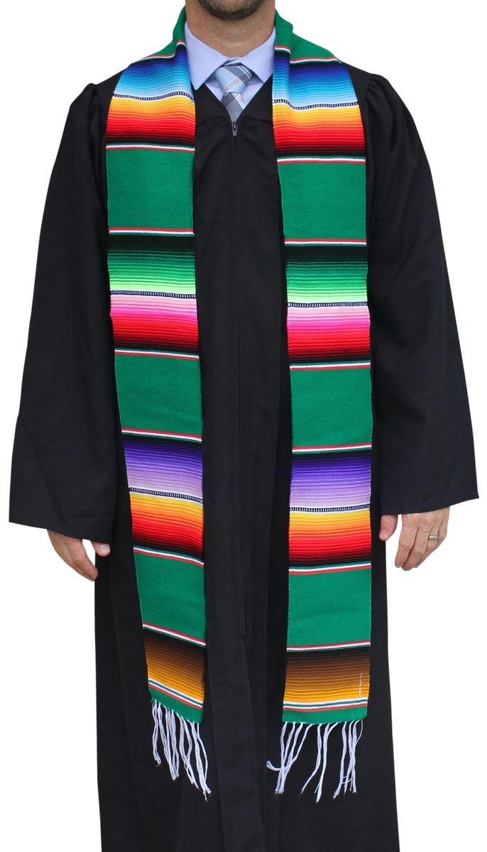 Del Mex Mexican Serape blanket Graduation Stole Sash Latino Hispanic (Green) by Del Mex (Image #1)
