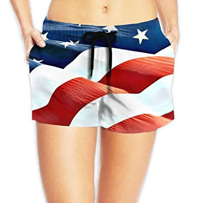Tvsuh-u American Flag Women's Summer Shorts Quick Dry Swimming Trunks