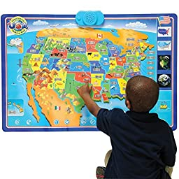 CP Toys Interactive Talking USA Wall Map w/ 1000 Facts and Questions