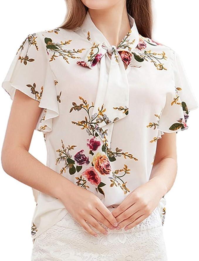 Blusa de Gasa con Estampado de Mariposas para Mujer, Manga Corta, Cuello con Lazo, Blusas Informales - Blanco - X-Large: Amazon.es: Ropa y accesorios
