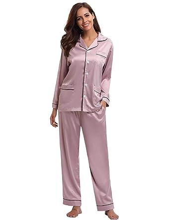 6009b3d48f0969 Abollria Satin Pyjama Damen Nachthemd Lang V-Ausschnitt Zweiteiliges  Schlafanzüge Frauen Hosen Hausanzug Sleepwear Klassische