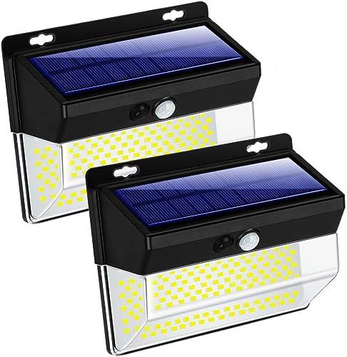 ZHENREN 262 LED Solar Motion Sensor Lights Outdoor, Wireless Solar Flood Security Light IP65 Waterproof 3 Modes Super Bright 270 Wide Illumination Range for Garden Patio Yard Walkway Driveway, 2 Pack