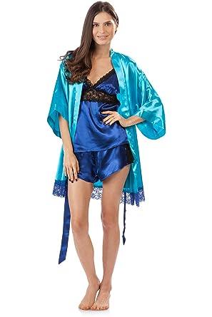 c03675032e Ashford   Brooks Women s 3 Piece Satin Robe and Pajama Set - Aqua Royal Blue