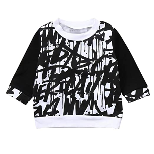 f7dbc818434 2018 New Autumn Winter Clothes Toddler Baby Kids Boys Girls Long Tops  Doodle Print Crew Neck