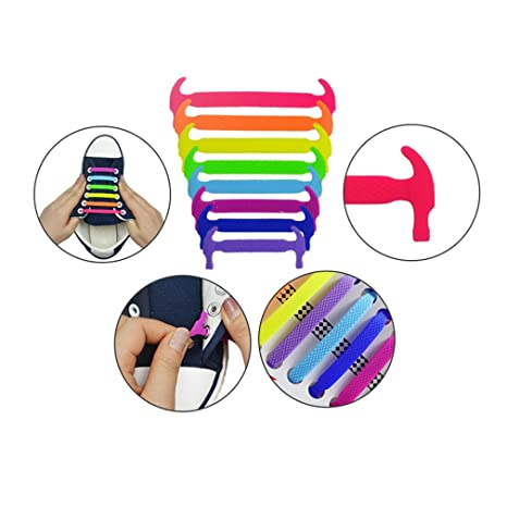 Silicone Lacci per Scarpe Elastici Adulti e Bambini Shoelaces ... 85fd226adb8