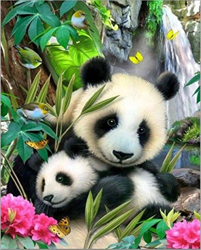DIY 5D Diamond Painting, eZAKKA Full Square Drill Paintings Pictures Arts Craft for Home Wall Decor, Family Activities and Emotional Adjustment (Panda, 8x10inches) by eZAKKA