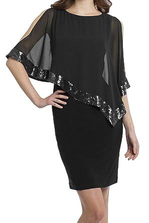 f724d5a4482 Dora Bridal Women Chiffon Scoop Sequins Short Evening Prom Party Formal  Dresses Size 2 US Black