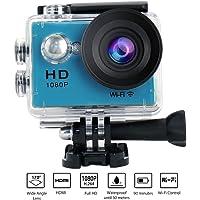 """YUNTAB Videocámara W9 WiFi de Acción-12Mp Pantalla de 2"""",Video de Alta definición 1080p,Full HD, Sumergible hasta 30m, Incluye múltiples Accesorios (Azul)"""