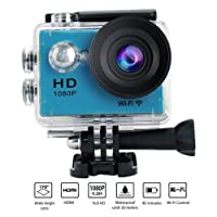 Yuntab ® W9 Action Camera WIFI Sport Full HD 1080P Caméra Embarquée HDMI TV port Etanche 30M Caméra de Sport Enregistreur Vidéo Numérique 12 Mega Pixel, 170 ° HD Grand-Angle avec le Boîtier Etanche Multiples ACCESSOIRES OFFERTS bleu