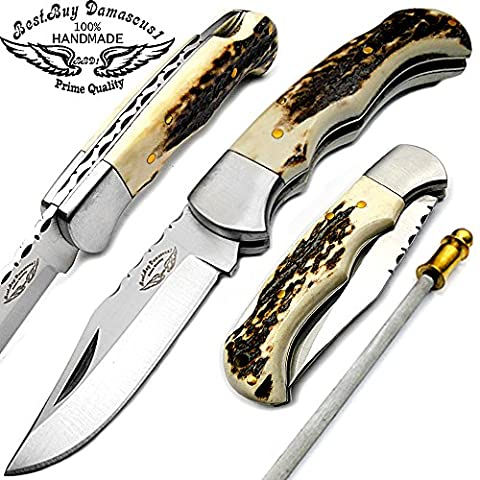 Best.Buy Damascus Stag Horn 6.5-Inch Handmade Stainless Steel Folding Pocket Knife with Sliver Bloster and Back (Stag Horn Handle Knife)