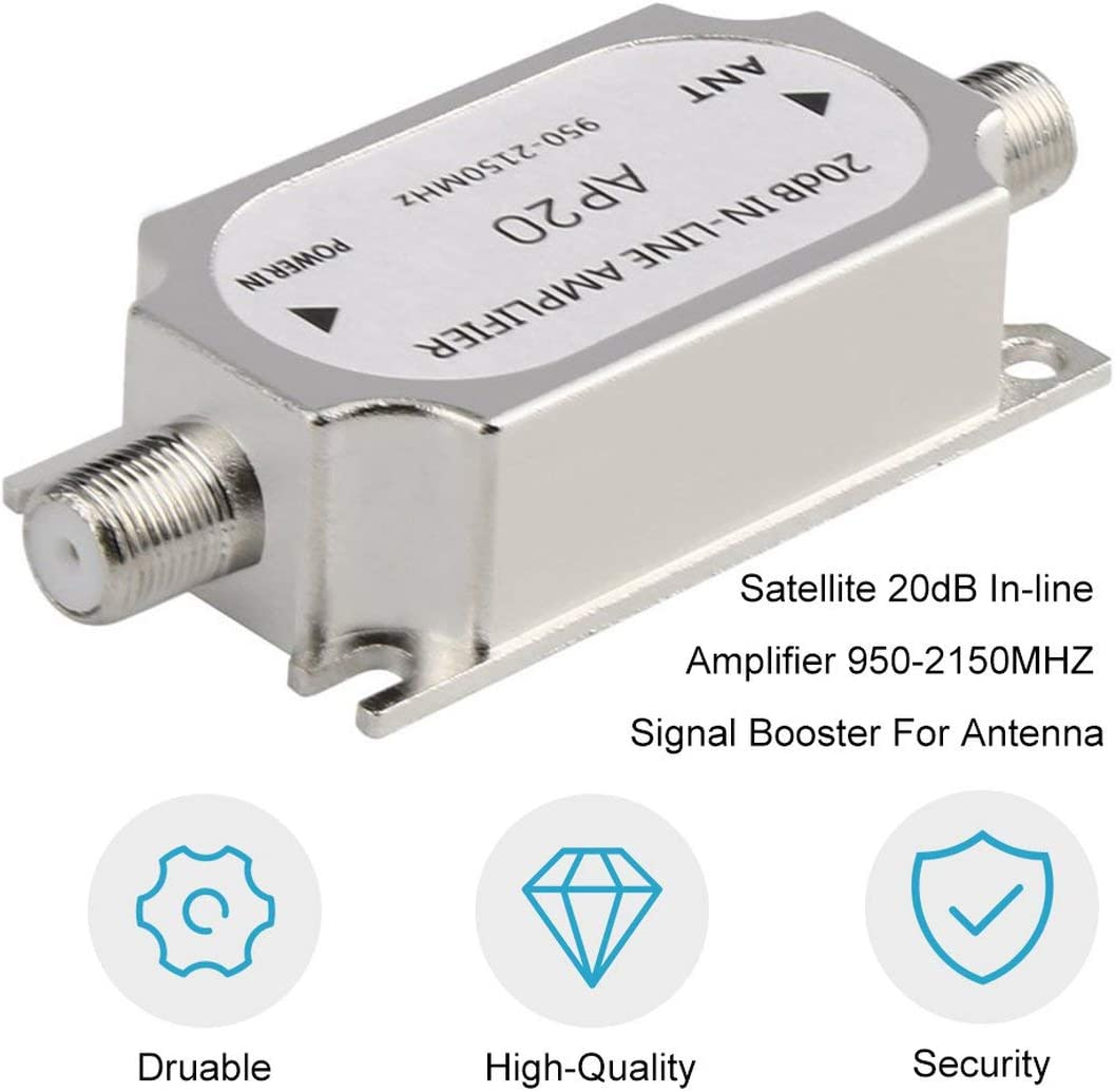 Color:silver Garciakia Satellite 20dB In-line Amplifier Booster 950-2150MHZ Signal Booster For Dish Network Antenna Cable Run Channel Strength