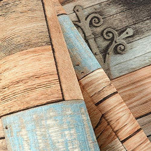 壁紙 レンガ 防音シート 防水 壁紙 断熱 DIYクッション シール シート立体 壁用 壁紙 はがせ レトロノスタルジック3D模造木目まだら壁紙レストランカフェバーのパーソナリティカラフルなウッドボードの壁紙
