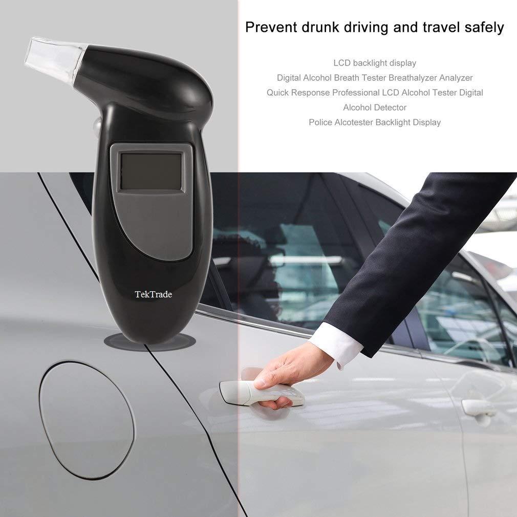 Tektrade Professional Breathalyzer Keychain, Portable Breath Alcohol Tester Red Backlit Breath Analyzer High-Precision Breathalizer with LCD Display, Black