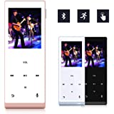 MYMAHDI Music Player 8GB with Bluetooth MP3 Player Hi-Fi Sound 60 Hours Playback Portable Audio Player Expandable Up to 128GB (Rose Gold)