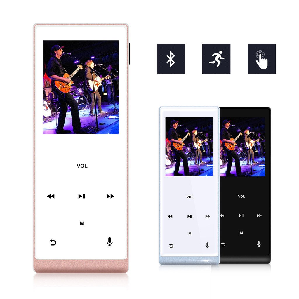 MYMAHDI Music Player, 8GB with Bluetooth MP3 Player Hi-Fi Sound 60 Hours Playback, Portable Audio Player Expandable Up to 128GB (Rose Gold)