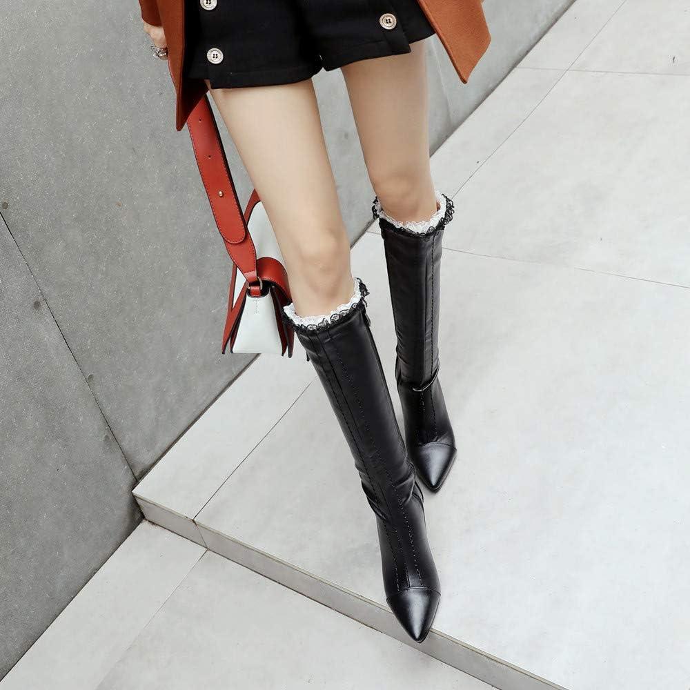 Bottes Tube Hautes Femme,Overmal 2018 Hiver Mode Retro Carr/é Talon Haut Solide Cuir Boots Pointues Orteil Mi-Mollet Chaud Chaussures Sauvage Bottes Souples Bottes de Neige