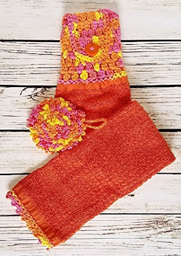 Fiesta Colors in a Contemporary Hanging Bath or Kitchen Towel and nubby scrubbie or wash cloths/dish cloth. Button closure on towel. Nubby has convenient loop for hanging.