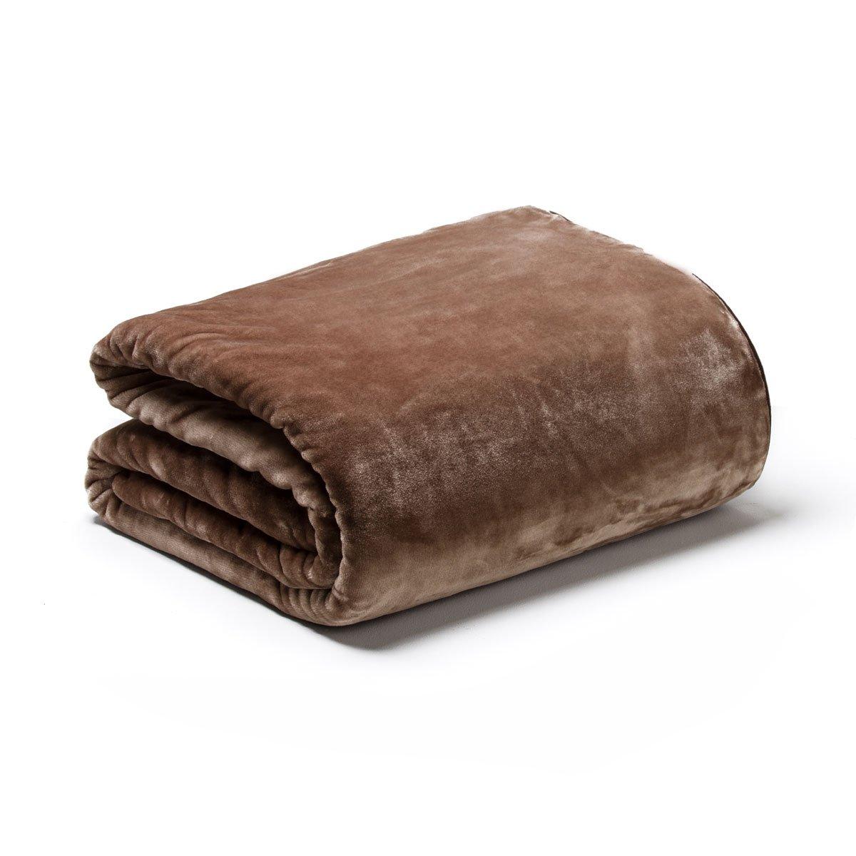 Sancarlos OSLO - Manta Lisa de Terciopelo Suave, Color Chocolate, Cama de 135 cm, 220x240 cm