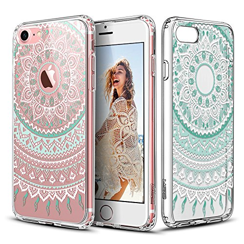 ESR iPhone 7 Case, iPhone 7 Retro Totem Series Clear with Datura Floral Pattern Designer Case,Hybrid Protective Case with Soft TPU Bumper and Hard Back Cover for Apple iPhone 7 4.7, Mint Mandala